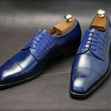 Men's Handmade Navy Derby Shoes, Cr..