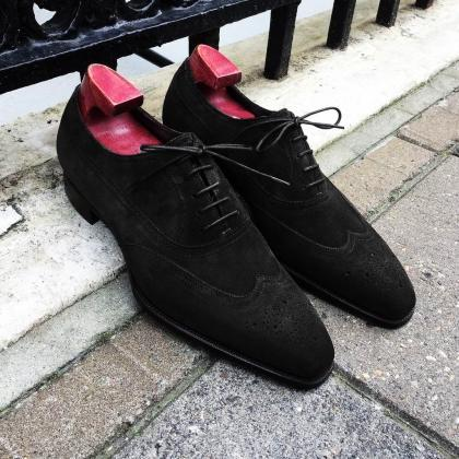 Handmade Black Suede Shoes, Men's W..