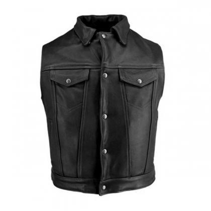 Men Black Mens Stylish Black Biker ..
