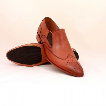 HAND MADE LOAFER STYLE SHOES TAN BR..