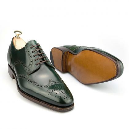 New Handmade Derby Green Leather Sh..