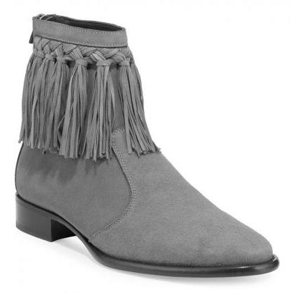 New Handmade Gray Fringe Dress Boot..