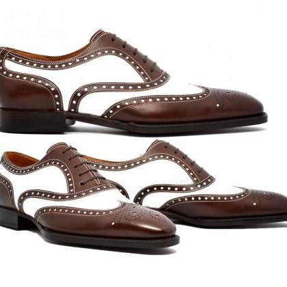 Handmade Men Brown White Brogue oxf..