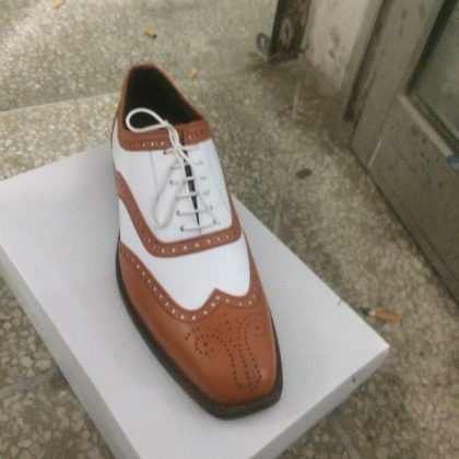 HANDMADE BROWN AND WHITE SHOES, MEN..