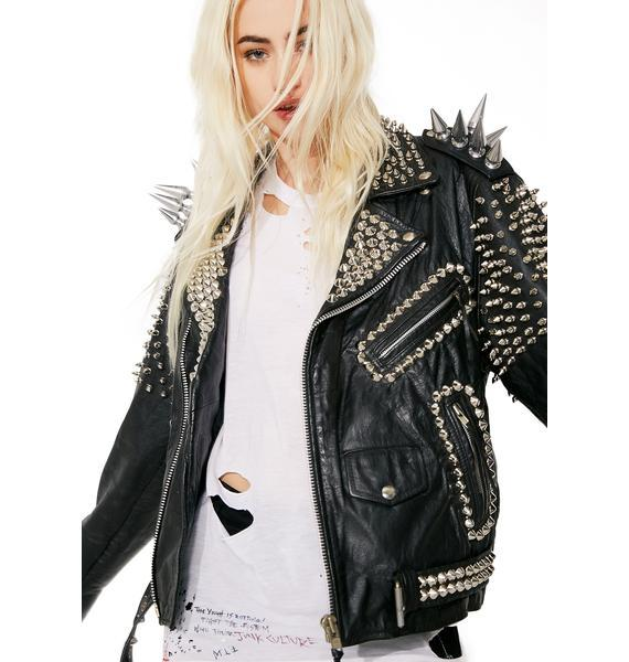New Handmade Woman Black Long Spiked Studded Punk Cowhide Leather Jacket