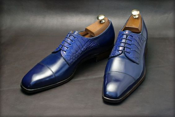 Men's Handmade Navy Derby Shoes, Crocodile Texture Shoes, Dress Leather Shoes