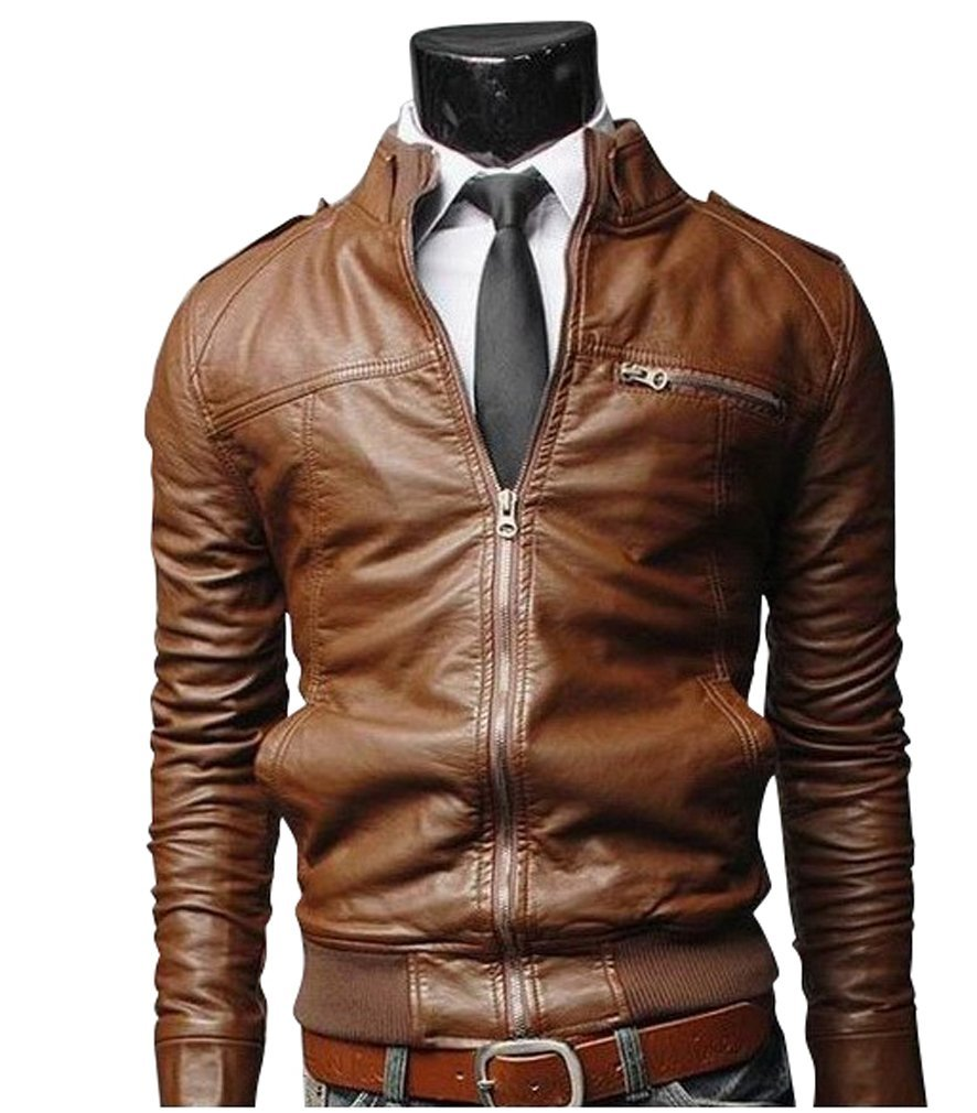 Men Brown Bomber Slim Fit Leather Jacket, Mens Leather Jacket on ...