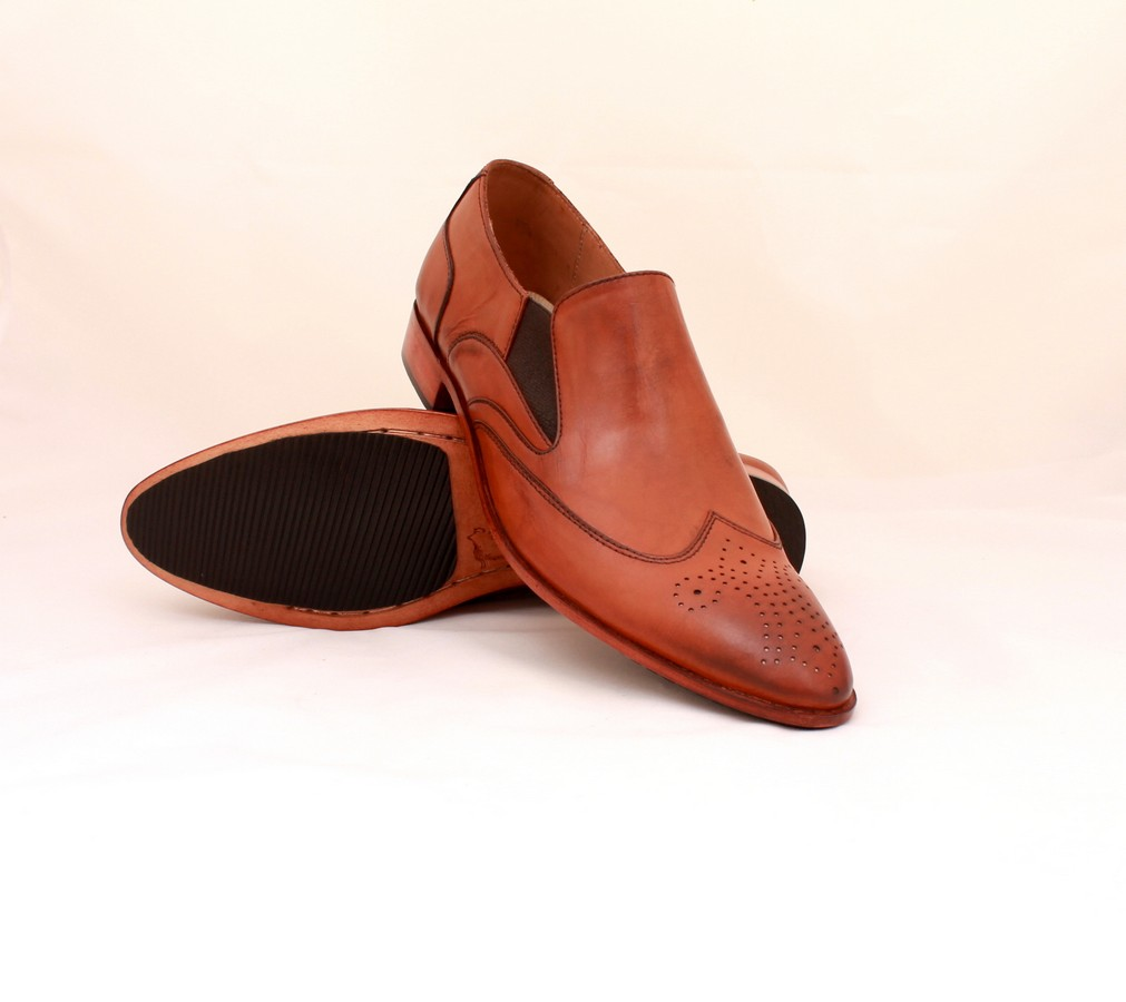HAND MADE LOAFER STYLE SHOES TAN BROWN, DRESS SHOES MEN