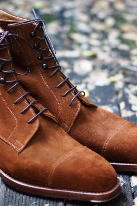 New Handmade Men Suede Tan Ankle High Fashion Boots Vintage Dress Boots Lace up Boot