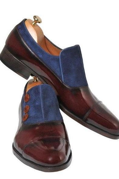 New Handmade Classic Button Top Real Leather Two Tone Dress Shoes, Men Shoes