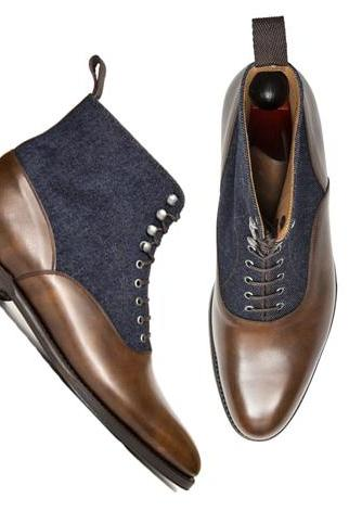 Handmade Brown Blue Men Ankle High Dress Formal Office Business Boots