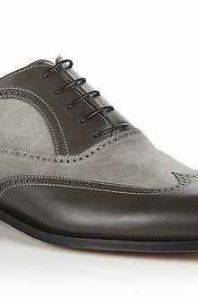 New Handmade Men Wingtip Gray And Black Shoes Men Suede And Leather Dress Shoes