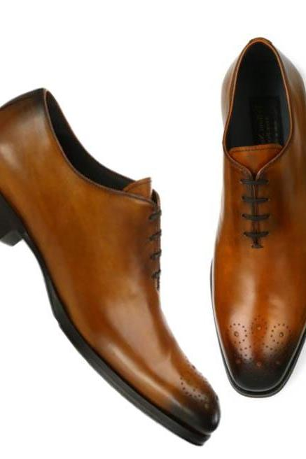 New Men Handmade Derby Leather Shoes Dress Shoes Itly Formal Shoes Leather Sole Stylish Shoes