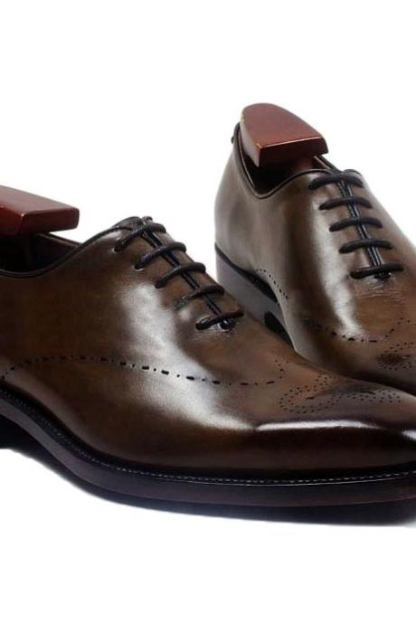 New Handmade Oxford Coffee Brown shoes, Man Calf Leather formal Shoes Brogue Dress