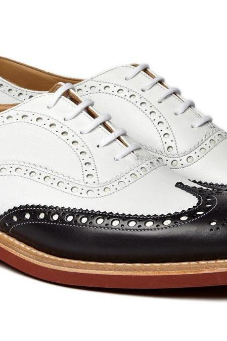 New Handmade Black White Brogue welted Black White Shoes Men Casual Oxford