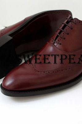 HANDMADE WING TIPS FORMAL DRESS LEATHER SHOES FOR MEN