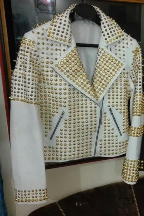 WOMAN WHITE GOLDEN FULL STUDDED FASHION LEATHER JACKET