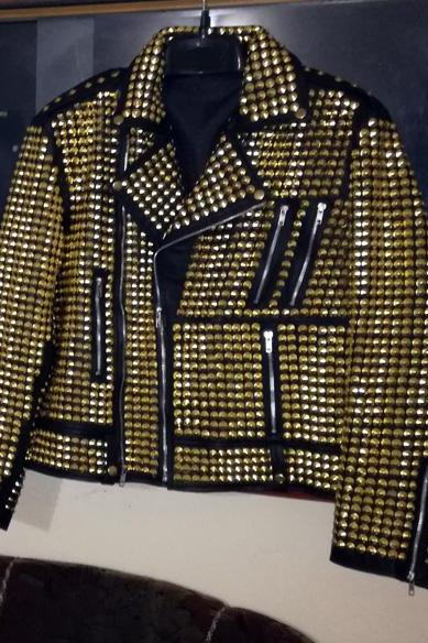 Woman Golden Studded Rock Punk Fashion Biker Leather Jacket