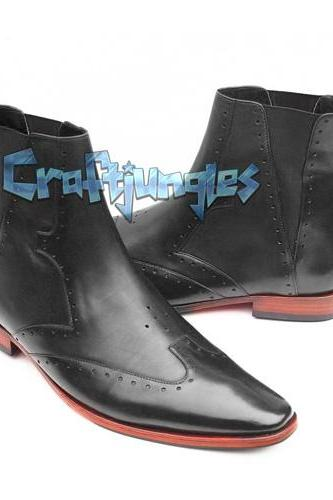 HANDMADE ANKLE HIGH BROGUE LEATHER BOOT FASHION MEN NEW MEN BOOTS