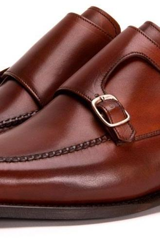 MEN DOUBLE MONK LEATHER SHOES, FORMAL HANDMADE LEATHER SHOES