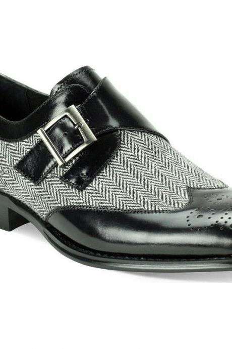 Handmade Mens Black Leather Tweed Monk Strap Wingtip Dress Formal Shoes