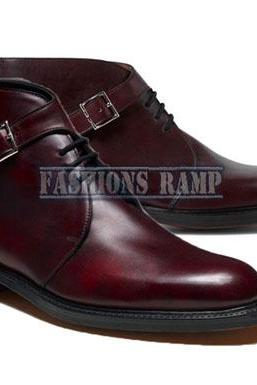 Handmade Burgundy Chukka Boots, Men Black Leather Boots Strap Casual Denim Boots
