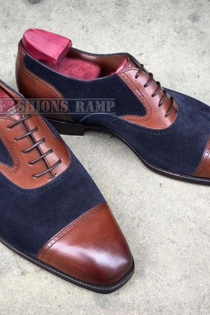 Handmade Oxford Suede Leather Shoes For Men, Cap Toe Dress Formal Shoes