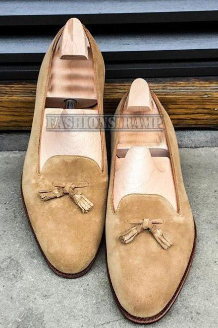 Handmade Dress Suede Shoes, Tan Color Formal Wedding Party Leather Shoes, Men Shoes