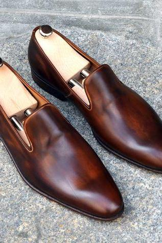Handmade Men Brown Leather Shoes Moccasins, Men Leather Dress Shoes, Shoes For men