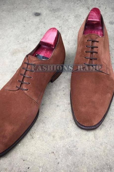 Handmade Derby Suede Leather Shoes For Men, Dress Brown Lace Up Shoes