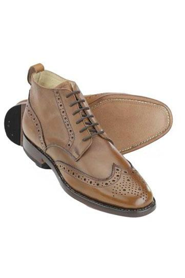 Men Sami Brogue Leather Boots, Wing Tip Hand Made Leather Boots