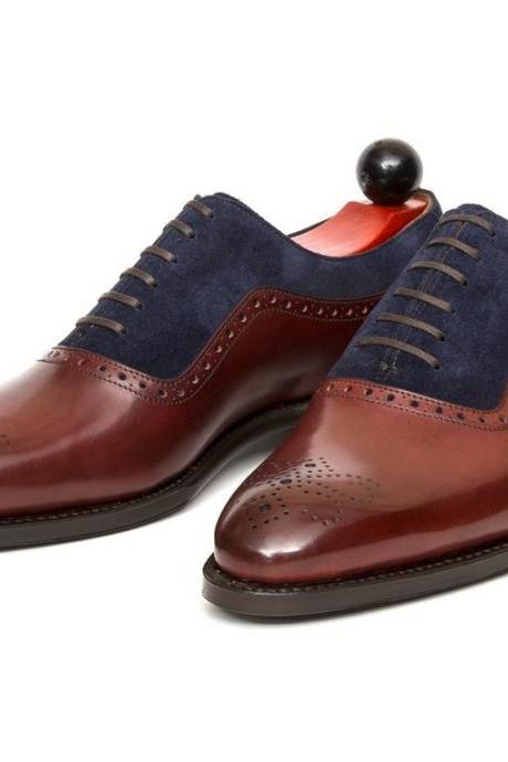 Men Handmade Burgundy Leather Shoes, Business Tuxedo Formal Brogue Office Shoes