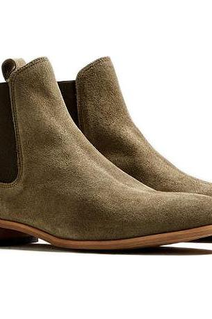 Men Olive Green Chelsea Boots Ankle High Chelsea Trendy Causal Boots