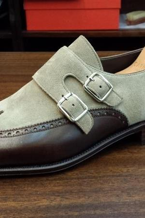 Men Double Monk Shoes, Handmade Suede Leather Formal Casual Dress Brown Gray Shoes