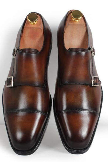 New Handmade Men Double Monk Brown Cap Toe Dress Formal Shoes For Stylish Men