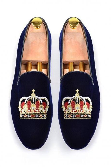 Hand Crafted Blue Velvet Slippers Crown Embroidery Slippers Wedding Loafer Men