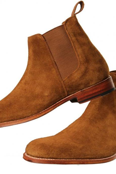 Chelsea Brown Suede Leather Boots Formal Dress Party Boots