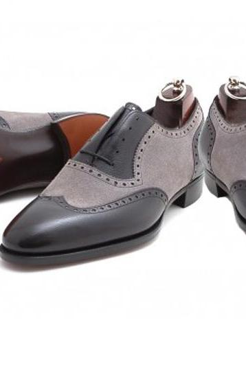 Black Gray Formal Shoes Men Brogue Formal Shoes Dress Shoes