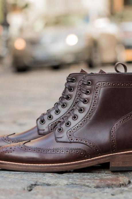 Men Brown leather Boots Brogue Wingtip Ankle high Boots