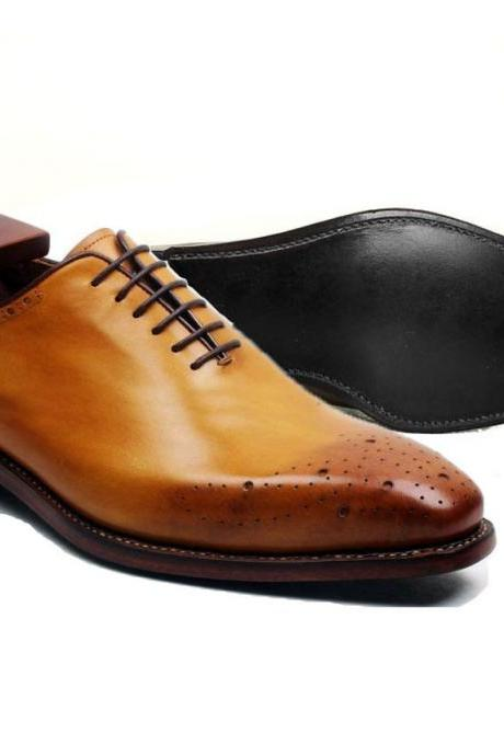 Handmade Bespoke Genuine Calf Leather Shoes, Men's Tuxedo Oxford Dress Tan Shoes