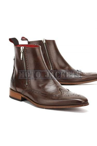 Ankle High Brown Brogue Boots For Men, Wing Tip Dress Leather Boot