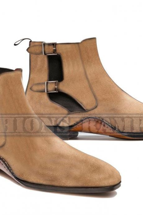 Handmade Beige Chelsea Two Tone Ankle High Dress Formal Suede Leather Boots