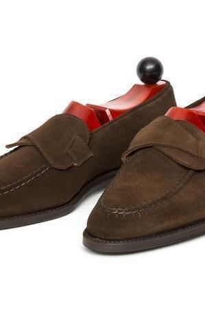 Handmade Brown Bespoke Dress Formal Office Suede Leather Shoes Men