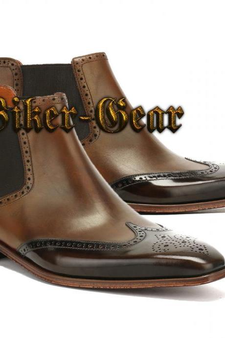 Handmade Brown Chelsea Wing Tip Brogue Tuxedo Casual Fashion Leather Boots