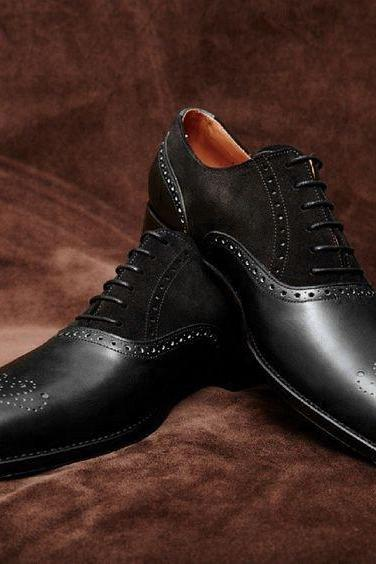 Handmade Black Brogue Oxford Bespoke Dress Formal Leather Shoes Men