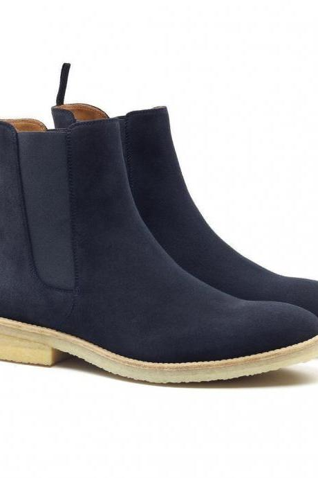 Handmade Chelsea Casual Denim Trendy Stylish Suede Leather Boots