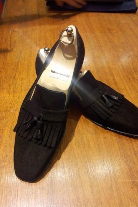 Handmade Suede Moccasins Slippers Black Leather Formal Groom Office Shoes Men