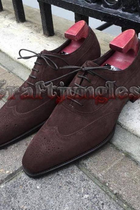Handmade Brown Suede Leather Oxford Brogue Dress Formal Shoes