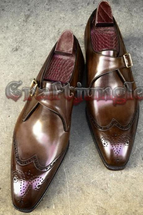 Handmade Tan Leather Oxford Two Tone Monk Dress Formal Leather Shoes