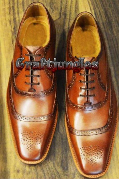 Handmade Tan Brogue Leather Dress Formal Fashion Office Business Shoes